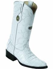 ID#VJ15171 J Toe Genuine Caiman Tail Full Leather Lining Boots White