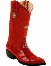 ID#VJ15181 J Toe Genuine Eel Skin Full Leather Lining With Replaceable Heel Cap Boots Cognac