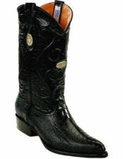 ID#TM15223 Black Replaceable Heel Cap J Toe Formal Shoes For Men Style Boots With Genuine Ostrich Leg Skin