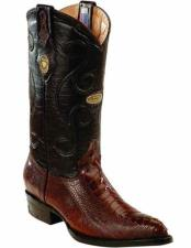 ID#TM15215 J Toe Genuine Ostrich Leg Skin With Leather Insole Brown Handcrafted Boots