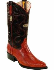 ID#TM15219 Cognac Full Leather Pull Straps With Genuine Ostrich Leg Skin J Toe Style Boots