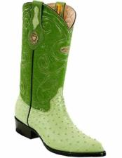 ID#VJ15200 J Toe Genuine Quill Ostrich Skin Full Leather Lining Replaceable Heel Cap Boots Pistachio