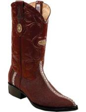 ID#TM15226 Burgundy Handcrafted Stingray Leather Pull Straps J Toe Style Boots