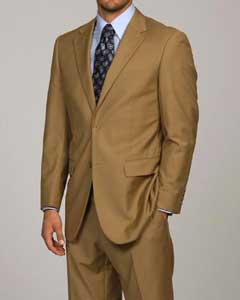 ID#DA1113 Camel ~ Khaki 2-button Cheap Priced Fitted Tapered cut Suit