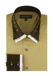 Double Collar Solid Khaki