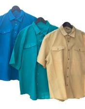 ID#KO18354 Walking Linen Shirt & Pants Available In Color Turquoise Or Camel - Khaki Or Teal