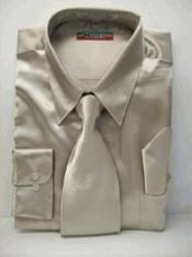 Mezzo Khaki Satin Dress