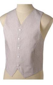 Khaki and White Stripe ~ Pinstripe Striped Summer seersucker suit Pattern Wedding Vest For Groom and Groomsmen Combo