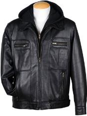 4-Zip Pocket Front Lamb Leather skin Hooded Jacket Dark color black