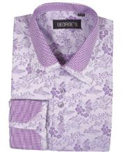 ID#VJ15777 Lavender Pattern High Collar Club Style Cheap Fashion Clearance Shirt Sale Online For Men