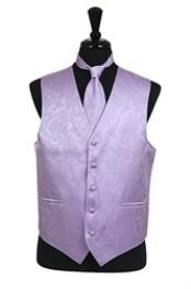 ID#VS2786 Groomsmen Wedding Vest ~ Waistcoat ~ Waist coat For Groom and Groomsmen  Paisley tone on tone Groomsmen Ties Combo Lavender (Buy 10 of same color Tie For $25 Each)