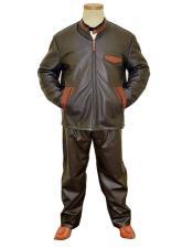 Leather/Alligator Dark Brown Zipper