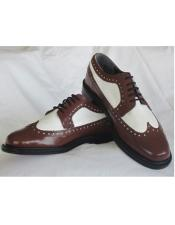 Brown White Mens Prom Shoe