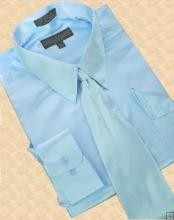 ID#AK348 Satin Light Blue - baby blue Dress Cheap Fashion Clearance Shirt Sale Online For Men Tie Hanky Combo