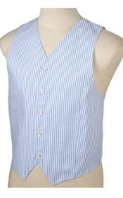 ID#JR71W Light Blue and White Stripe ~ Pinstripe Striped Summer seersucker Pattern Wedding Vest For Groom and Groomsmen Combo