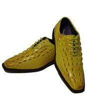 ID#DB23714 Fashion Light Green~Yellow Lace Up Oxford Mens Two Tone Vintage Dress Prom Shoes