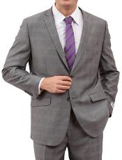 ID#M160S000 Light Grey Two buttons Front Closure Cheap Priced Fitted Tapered cut Suit