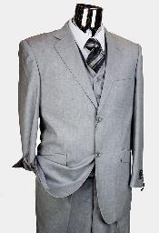 ID# BER_TZ41 Light Grey 3 Piece Two buttons Italian Designer Mini Pattern Suit