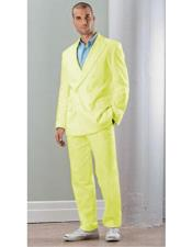 ID#VJ15729 Linen Double Breasted Blazer Jacket Yellow Suit With Pants