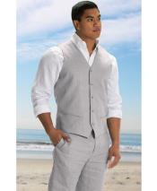 ID#DB24527 5 Button Linen For Beach Wedding outfit Fit Linen Light Gray  Vest & Pants