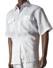 Short Sleeve White Button