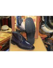 ID#DB19931 Genuine Lizard Stingray Navy Blue Ankle Boot