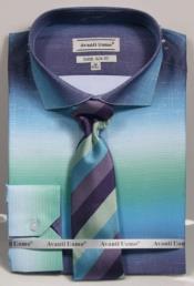 ID#DB23235 Long Sleeve Button Closure Spread Collar Dress Cheap Fashion Clearance Shirt Sale Online For Men Aqua