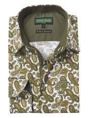 Long Sleeve Green Paisley