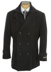 ID#DB21752 Long Sleeve Double Breasted Navy Classic Fit Designer Mens Wool Peacoat Sale