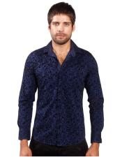 Fit Navy Paisley Long