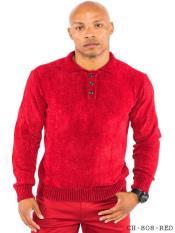 Sleeve Mock Neck Red