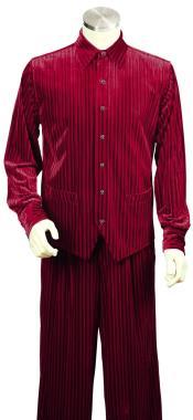 Long Sleeve Velvet Dual Pocket Accents Red Zoot Blazer - Sport Coat