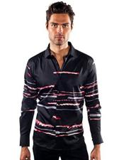 Sleeve Striped Black Slim