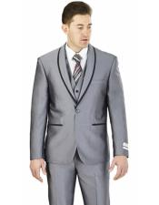 ID#DB23769 Lorenzo Bruno  2 Buttons Slim Fit Gray Shawl Lapel Suit