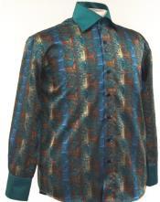 ID#AC-473 Fancy Man Made Fiber Dress Cheap Fashion Clearance Shirt Sale Online For Men With Button Cuff Green