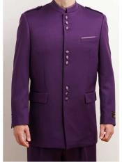 ID#NM408 Men's Online Indian Wedding Outfits ~ Mandarin ~ Nehru Collar Jacket Collarless Style 2 Piece  Nehru Style Long Purple Suit