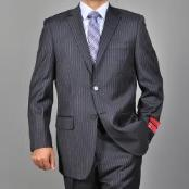 ID#KA1492 Authentic Bertolini Brand Dark Charcoal Masculine color Grey 2-button Wool fabric Suit