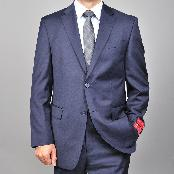 ID#KA1481 Authentic Bertolini Brand Basic Solid Plain navy blue colored 2-button Wool fabric Suit