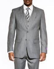 Slim Fit Medium Grey 3 ~ Three Piece Wedding Prom Vested Suit