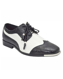 ID#BC-94 Dress Two Tone Prom Formal Shoes For Men Dark color black White