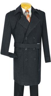 ID#MK710 Double breasted overcoats for men ~ topcoat (Belted optional ) 38 Inch Length Cashmere Blend Dark Charcoal Masculine color
