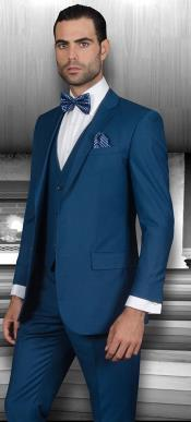 ID#Ac-945 Inexpensive ~ Cheap ~ Discounted Clearance Sale Extra Slim Fit Prom Suits for Men 3 ~ Three Piece Cobalt ~ Bright Blue Indigo~ Teal ~ Slate Blue Wool fabric Vested Suit