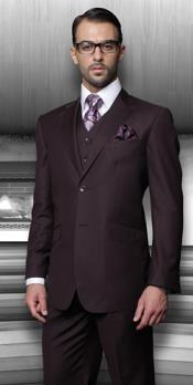 "ID#PN_O71""Side Vented Online special Inexpensive ~ Cheap ~ Discounted Reduced Price Pleated creased Pants Vested"" Suits for Men 3 ~ Three Piece Regular Fit Very Dark Purple pastel color"