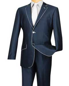 ID#AC-929 Inexpensive ~ Cheap ~ Discounted Clearance Sale Extra Slim Fit Prom Blue White Trim Suits