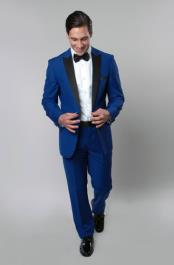 ID#RM1471 Single Buttons Prom ~ Groomsmen Dark color black Lapeled Suit - Blue Tuxedo Wedding - Royal Blue Tuxedo Jacket