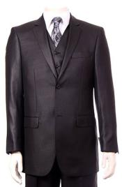 ID#RM1552 Regular Fit Two Two buttons Vested 3 ~ Three Piece Suit Pleated creased Pants Side Vents With Sheen Sharkskin mini pattern Dark color Black Wedding / Prom Outfit