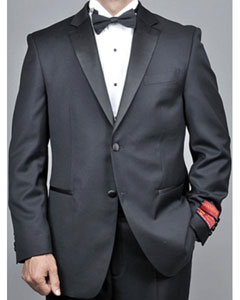 ID#AH61 Mantoni Collared Tuxedo Two buttons Dark color black - High End Suits - High Quality Suits