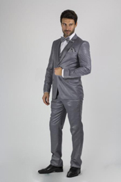 Collared Slim Fit Sharkskin