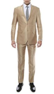 ID#RM1411 Ferrecci Notch Collared Two buttons Premium Sharkskin Inexpensive ~ Cheap ~ Discounted Clearance Sale Extra Slim Fit Prom 2 Piece Suit Champagne