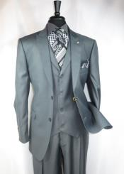ID#RM1406 Falcone clothing line  Two buttons Suit Jacket with Peaked Collared Grey